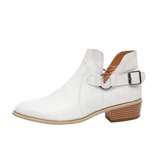 Botas Mujer 2019 Botines Cuero Botas de Punta Estrecha Hebilla Vintage Otoño Botas Tacón Plano Cómodas Mujeres Botas Cortas Zapatillas 35-43 riou