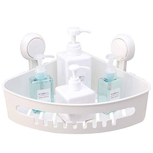 TAILI Suction Corner Shower Caddy Bathroom Shower Shelf Storage Basket Wall Mounted Organizer for Shampoo Conditioner Plastic Shower Rack for Kitchen Bathroom Drill-Free Removable