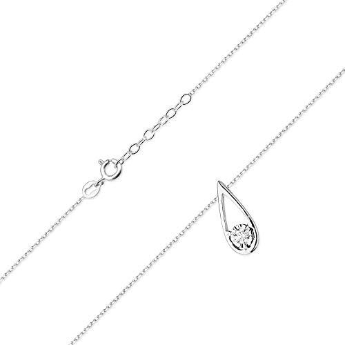 Collar de diamantes o cadena de oro para mujer Zlocisto Muestra585 , con zafiro de 0,05ct y diamantes talla brillante de 0,03ct H/Si