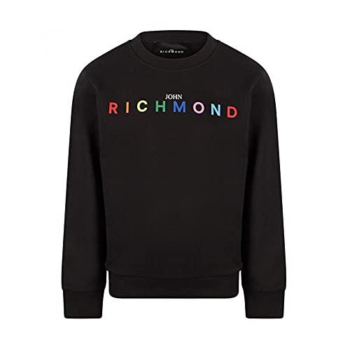 John Richmond Papalb Sweat-shirt pour enfant Noir avec logo multicolore printemps été 2021 - Noir - 8 ans