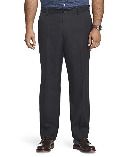 Arrow Men's Big and Tall Flat Front Straight Fit Solid Twill Micro Dress Pant, black, 46W X 32L
