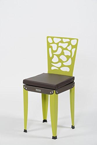 Styl'Métal 21 Lot 2 chaises Lilou D3 métal Vert anis et Chocolat + Coussins
