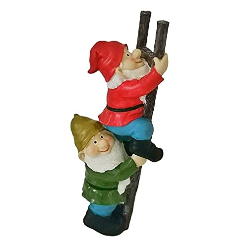 HTian Climbing Ladder Gnomes Statue, Outdoor Garden Resin Gnome Figurines Funny Lawn Decoration for Patio Yard, 15.0 Inch Tall