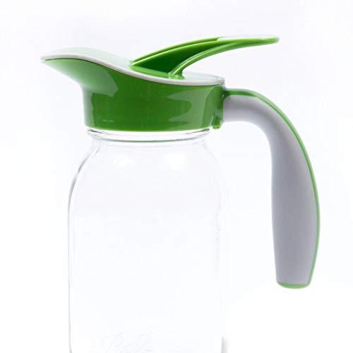 Ergo Spout mason jar pitcher, mason jar pour spout lid, pancake maple syrup dispenser, salad dressing dispenser (REGULAR MOUTH, Green)