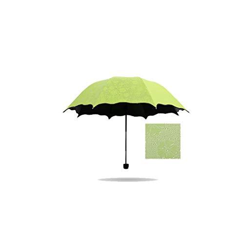 MISS&YG Faltschirm, ultraleichter Mini-Sonnenschirm tragbarer UV-Schutz UPF 50 Regenschutz dreifacher Schirm,fruitgreen