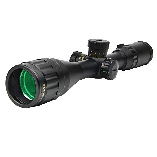JASHKE Rifle Scope 4-16x44 Mil-Dot Rangefinder Red & Green Illuminated with 20mm Picatinny Mount Rings