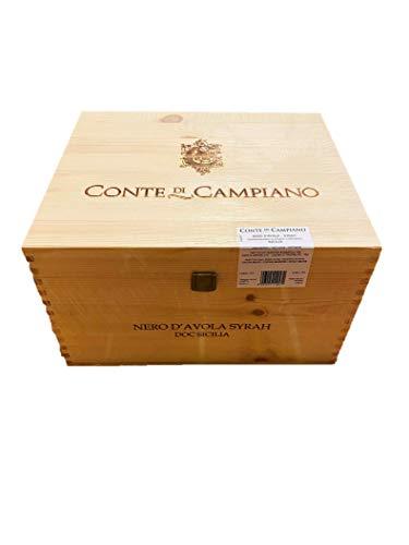 Nero D`Avola Syrah, Conte di Campiano Sicilia, Rotwein trocken, Jahrgang 2018, 6 x 0,75 l, geliefert in Weinkiste