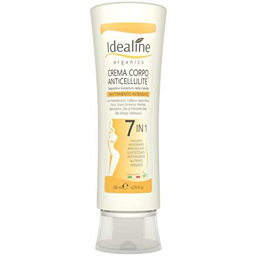 Idealine Crema Anticellulite Professionale 7 in 1- Crema Rassodante Corpo e Snellente Pancia e Fianchi Efficace per Cellulite e Smagliature 200 ml