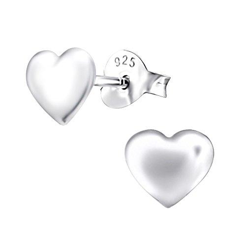 Laimons Pendientes para mujer Corazón abombado Brillante Plata de ley 925