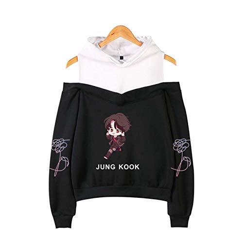 ZIGJOY Kpop Bulletproof Boy Scouts Love Yourself Tear Strapless Schulter Hoodie mit Sweatshirt Suga Jin Jimin V Jungkook J-Hope Für Fans Schwarz-Jungkook XL