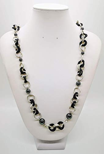 70/5000 Silver and black necklace with natural hematite. Gift idea made in Italy