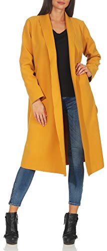 Malito Damen Mantel lang mit Wasserfall-Schnitt | Trenchcoat mit Gürtel | weicher Dufflecoat | Parka - Jacke 3050 (dunkelgelb)