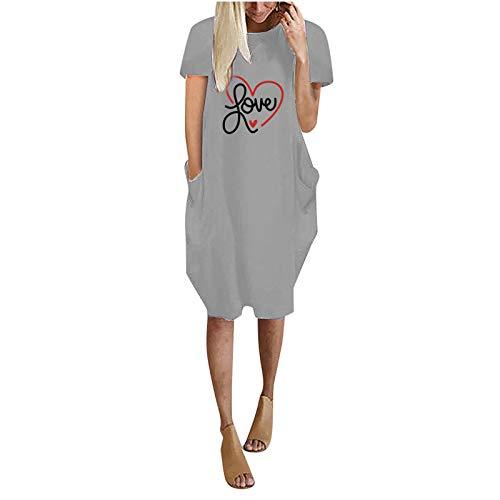 HEnri Women Dresses Summer Print Tunic Casual Short Sleeve Dress Tee T-Shirt Dress Nightwear Nightdresses O-Neck Nightgshirt Midi Dress with Pockets,Blouse Gray