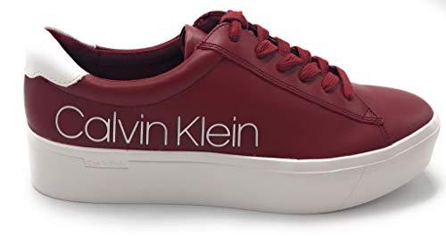 Calvin Klein Sneaker Casual Frau Janika Modell mit hoher Sohle B4E6291 Leder. Mit Tonnähten auf Ton und Schnürsenkeln. Herbst-Winter 2019-2020. EU 38