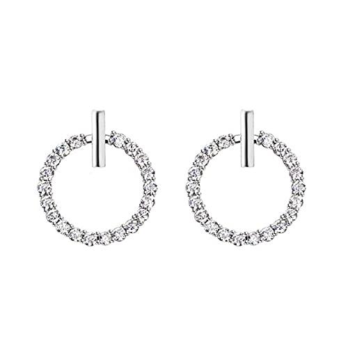 95 pendientes redondos geométricos de diamantes de imitación de cristal de plata esterlina para mujer joyería hermosa
