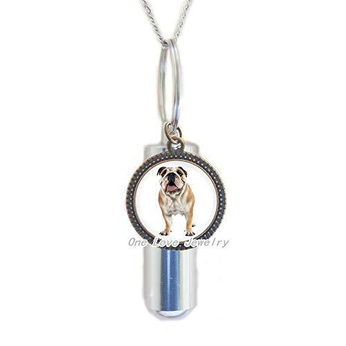 Ni36uo0qitian0ozaap Collar de urna de cremación Bulldog • Bulldog Inglés • Colgante para mascotas Bulldog URN• Joyería para perro perro mamá regalo