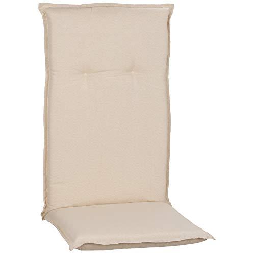 MYNE   Hochlehner Auflagen Piemont 2er Set   118x46x8 cm Creme Weiß   Gartenmöbel Auflagen mit Halteband & Bindebändern