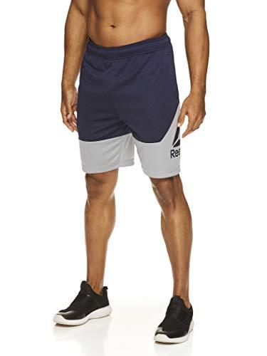 Reebok Men's Drawstring Shorts - Athletic Running & Workout Short w/Pockets - Navy Heather Break Training Knit, Small