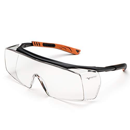 Univet 5X7.01.00.00 Überbrille 5X7 mit klarem Glas in schwarz/orange