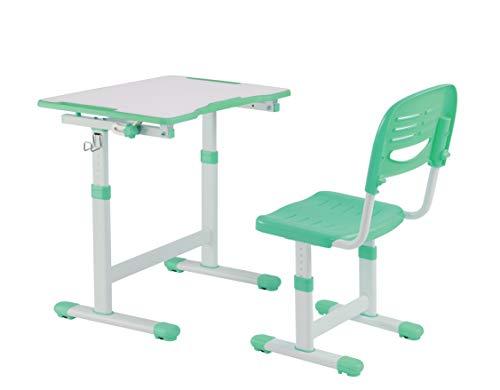 FD FUN DESK Piccolino II Green kinderbureau in hoogte verstelbaar, studentenbureau kantelbaar, bureau met stoel, groen, 664 x 474 x 540-760 mm