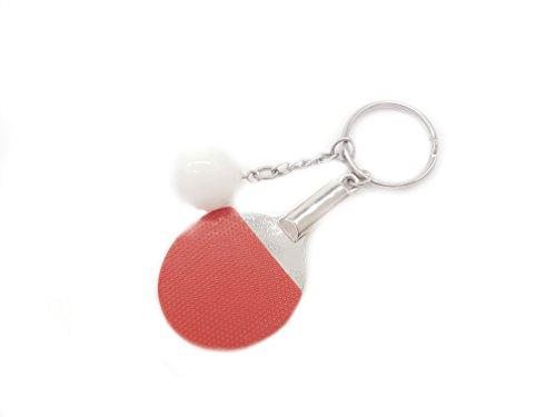 Palas de ping pong de mesa en color rojo y pelota llavero de metal | regalo | hombres | deporte | rojo