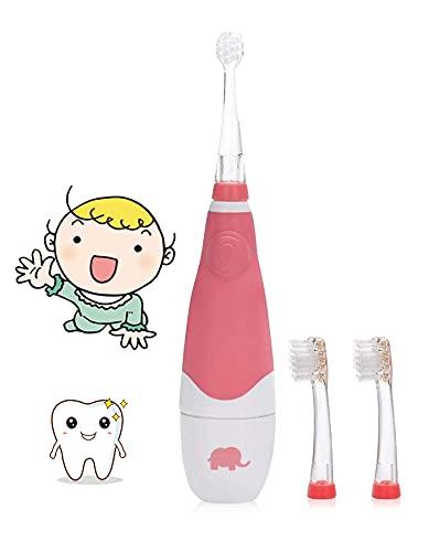SEAGO Baby Zahnbürste Elektrische Kinder Ab 1 2 3 Jahre Kinderzahnbürste Elektrisch Batteriebetrieben mit LED Lampe mit Timer Babyzahnbürste Ultraschall Zahnbürsten SG602/SG902 (Rot)