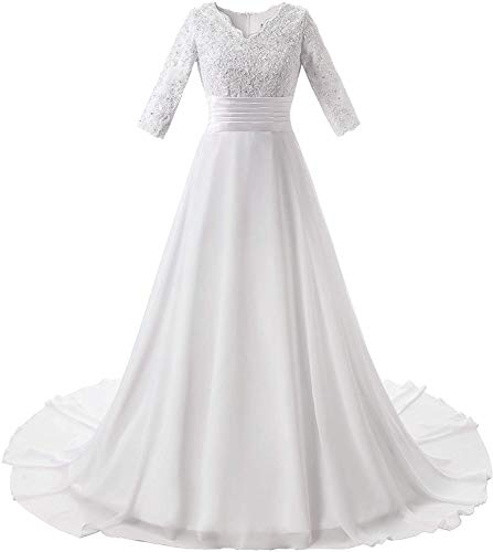Melisa Women's A Line V Neck Long Sleeves Lace Beaded Wedding Dress for Bride with Train Satin Beach Bridal Ball Gowns White