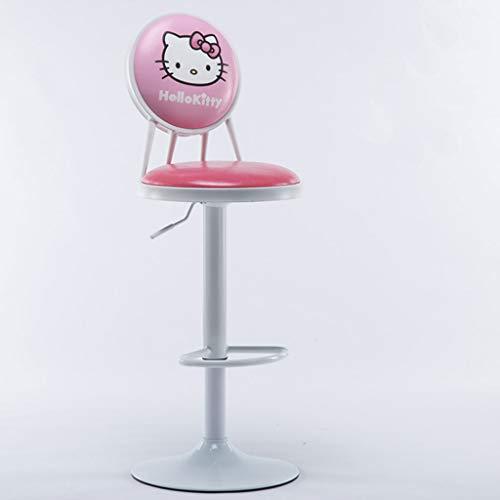 ZXW Tabouret- Tabouret en fer Tabouret de bar à dossier haut, minimaliste moderne (Couleur : Hello Kitty, taille : Ø39x63-83cm)