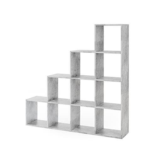 Vicco Treppenregal 10 Fächer - Raumteiler Stufenregal Raumtrenner Bücherregal Aktenregal Standregal