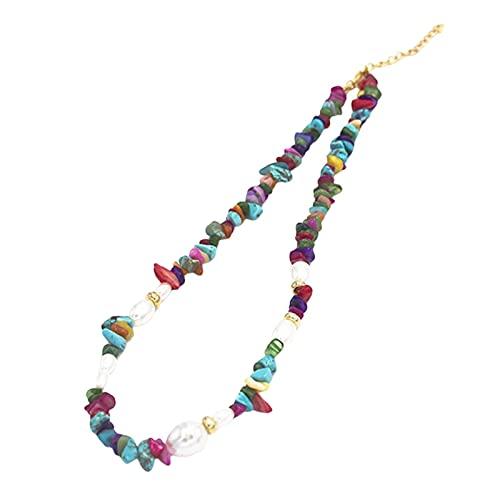 ERZU - Girocollo con perle in stile bohémien, fatto a mano, con ghiaia naturale, colorato, per ragazze e donne