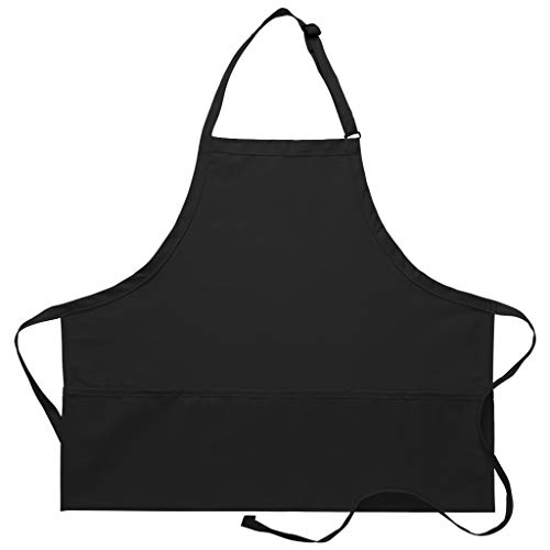 DayStar Apparel Premium Quality 3-Pocket Bib Apron with Adjustable Neck and Extra Long Ties - Style 200