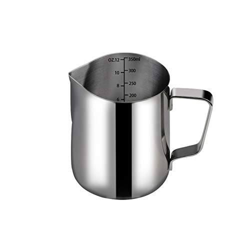 Amazerbst Milk Frothing Pitcher 12oz/350ml Stainless Steel Frothing Pitcher with Tick Mark for Coffee Latte Art