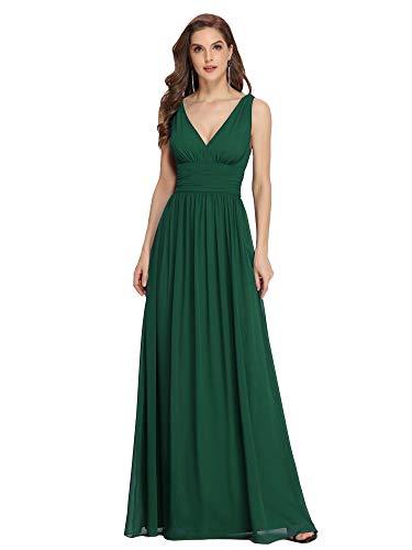 Ever-Pretty Vestiti da Cerimonia Donna Linea ad A Stile Impero Chiffon Scollo a V Senza Maniche Verde Scuro 52