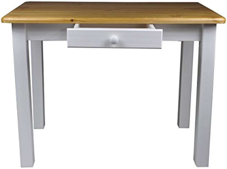 Esstisch mit Schublade Küchentisch Tisch Restaurant Massiv holz Kiefer (60x110, Erle)