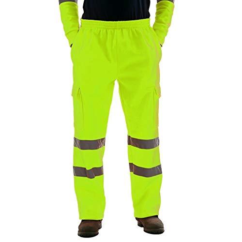 Warnschutz Pants Herren Arbeitshose mit Reflexstreifen Schnittschutzhose high Visible,Forsthose, Kurze Warnschutzhose mit Reflektionsstreifen, leichtes Waldarbeiterhose mit Schnittschutz