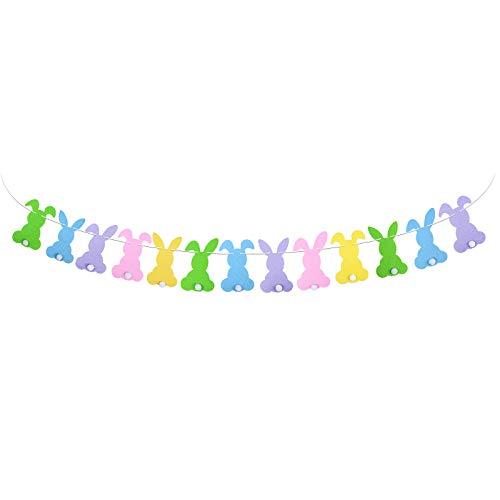 BETESSIN Striscione Pasquale Coniglio Ghirlande di Bandieria Colorata in Feltro Banner di Coniglietto Decorazione Addobi per Festa di Pasqua Cameretta Giardino (5 Colori)