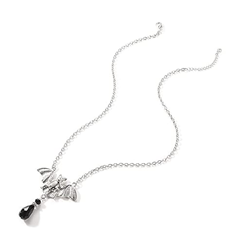 Colgante de murciélago único Collar gótico Gargantilla Pulsera Tobillera Cadena Perlas Colgante Collar Cadena joyería de Cristal para Mujeres y niñas (Oro) (Color : Silver)