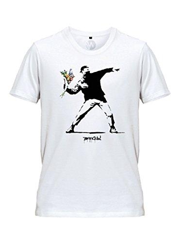 KSS KSS KSS Homme T-Shirt Fleurs Banksy Street Art Graffiti (M)