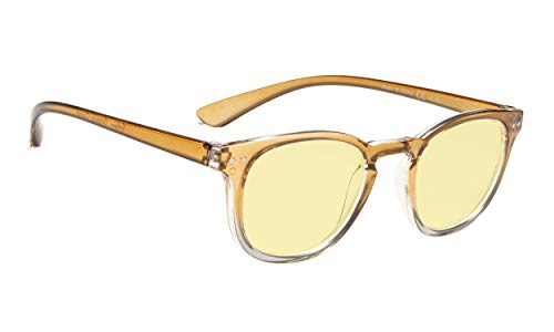 Blue Light Blocking Computer Glasses Women - Reduce Eye Fatigue Eyeglasses with Yellow Tinted Lens (Brown-Transparent Frame,+1.75)