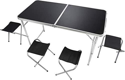 GOODS+GADGETS Klappbarer Multifunktionstisch Mehrzwecktisch Campingtisch Klapptisch Markttisch höhenverstellbarer Tapeziertisch Beistelltisch zum Campen (Camping Set mit 4 Stühlen - Schwarz)