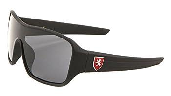 Khan Soft Rubber Oversized Shield Wrap Around Sunglasses  Black & Red Frame Black Super Dark