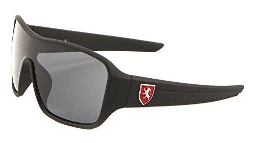 Khan Soft Rubber Oversized Shield Wrap Around Sunglasses (Black & Red Frame, Black Super Dark)