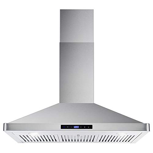 Cosmo COS-63190S 36 in. Wall Mount Range Hood Ductless Convertible Duct Permanent Filters, Soft Touch Controls, LED Lights, in Stainless Steel
