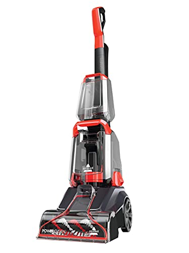 BISSELL PowerClean   Powerful Carpet Cleaner With Compact And Lightweight Design   Convenient Two-Tank System   2889E, Titanium & Mambo Red