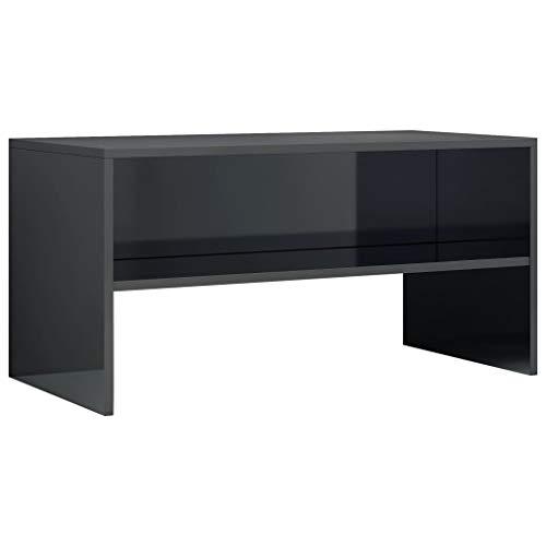 vidaXL TV Schrank Lowboard Couchtisch Fernsehschrank Fernsehtisch Sofatisch TV Tisch Möbel Board Sideboard Hochglanz-Schwarz 80x40x40cm Spanplatte
