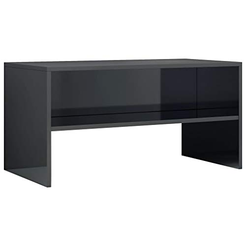 vidaXL Mueble TV Estante Mesa Baja Televisión Aparador Televisor Módulo Diseño Simple Compartimento Comedor Salón Habitación Aglomerado Negro Brillo