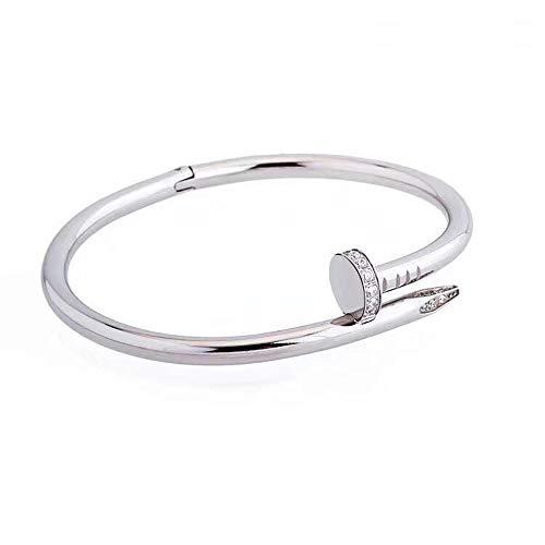CHYIAFrauen Armband Modeschmuck Armreif Kreative Nagel Armband Für Damen Geburtstagsgeschenk Unisex Armreif,Silber,16cm