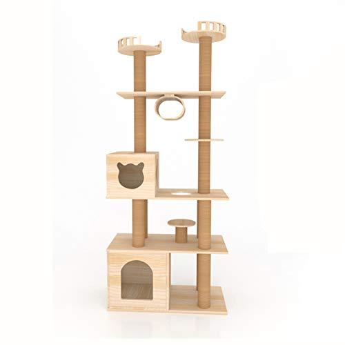 GBY Großer Massivholz Katzenbaum Katzenbaum mit Katzennest Kratzbaum Katzenkratzbaum Katzensprungplattform Alles-in-Einem-Katzenvilla, geeignet für den Innenbereich von Katzen, 210 x 80 x 40 cm