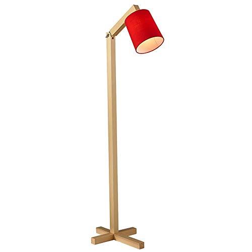 AnoJm Wandleuchte Einstellbare Holz Stehlampe LED Leselampe für Wohnzimmer mit Stoffschirm Stehlampe Gute Wohnkultur (Color : Red, Size : 36 * 36 * 150cm)