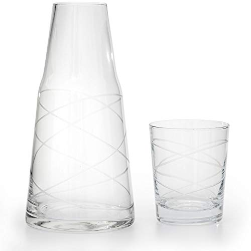 American Atelier Medallion Swirl 2 Piece Set Night Carafe - Sophisticated/Modern Design w/Glass Tumbler Perfect for Bedside/Desktop/Shelf for All Occasions, Great for Storing Water, Juice